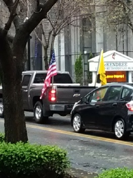 Vehicle with Gadsden Flag riding through downtown Nashville.